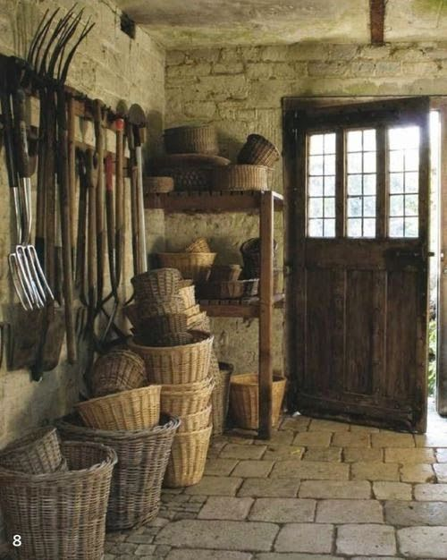 Burgundy, France Always great to have a good sturdy collection of garden baskets.This would be my dream outhouse!