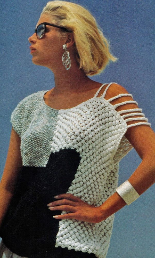 80S SUMMER WOMENS STRING SHOULDER BOBBLE TOP SIZE 87-96CM 10PLY KNITTING PATTERN