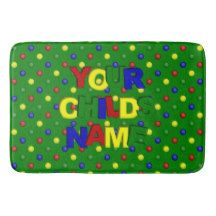 Primary Polka Dots,Green-Custom Large Bath Mat Bath Mats #zazzle #bathmat #primarycolors #polkadots #personalized