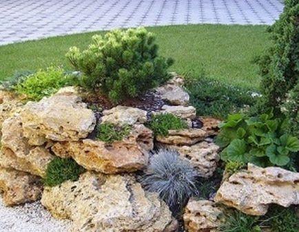 Альпийская горка из песчаника со следами эрозии