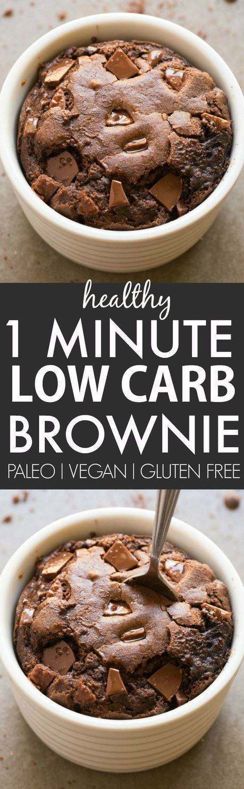 Healthy 1 Minute Low Carb Brownie- Oven option too- Moist, gooey and tender on the outside, it's the perfect snack, dessert or treat to enjoy anytime- Packed with protein and completely sugar free and grain free! {vegan, gluten free, paleo recipe}- thebig