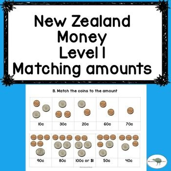 NZ Money match up activity. Ideal for Years 1-3 (Level 1)Help your class recognise NZ currency. These 3 printables allow your students to match the written amount to the coins. Each page has 10 'match-ups' to do.