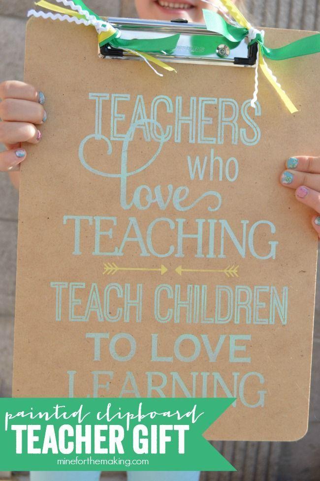 Painted Clipboard Teacher Gift | http://anightowlblog.com