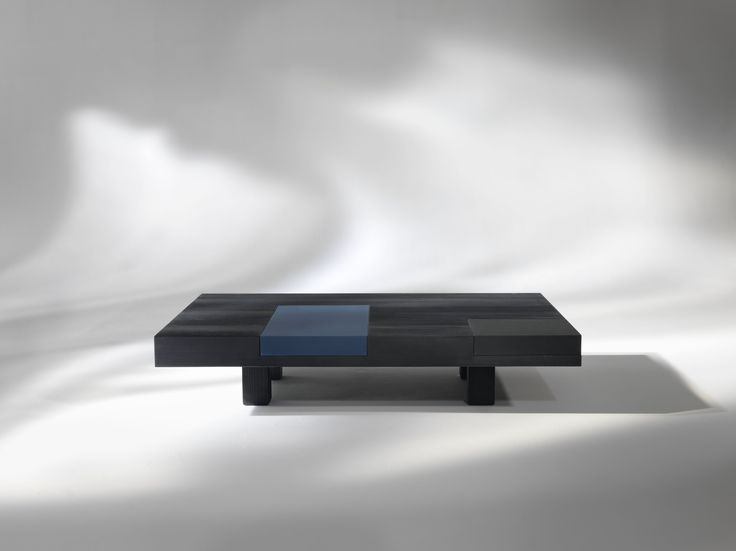 N.Y._2 #Coffee #table in black satin laquered wood with blue removable tray, rectangular or square | Designed by Carlo Cumini | #homedecor #homedesign #luxury #interiors #arredamento #interiores #furnituredesign #coffeetables #coffeetable