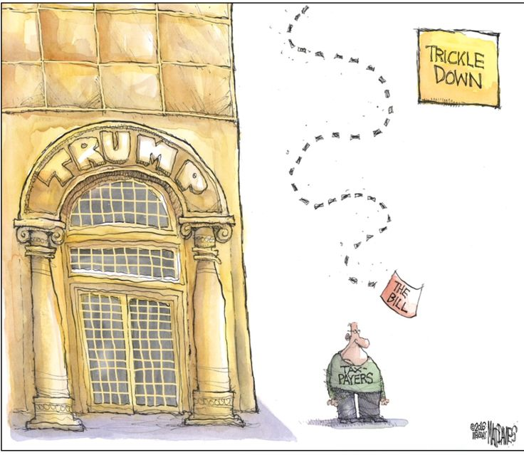 """Trump is going to show All Who Voted for him just what Trickle Down means. Instead of him giving them a """"Golden Parachute"""" he's gonna give them a """"Golden Shower!!"""""""
