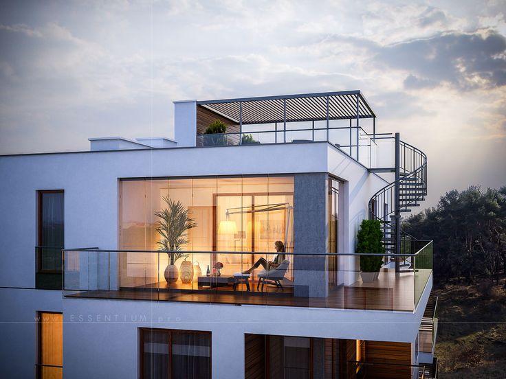 balcony, terrace, attumn, light, chill, cosy, plant, 3d artis, architectural visualization, 3d max, photoshop