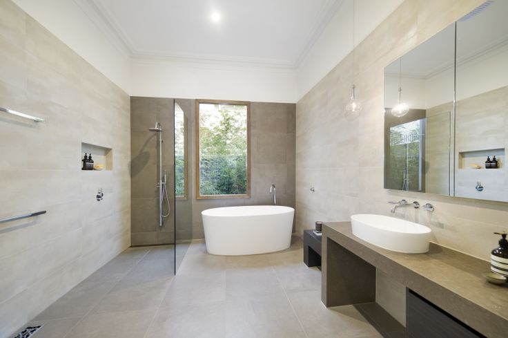 A combination of natural tones and minimalistic design captures the true meaning of timelessness. Designed & built by http://bubblesbathrooms.com.au/