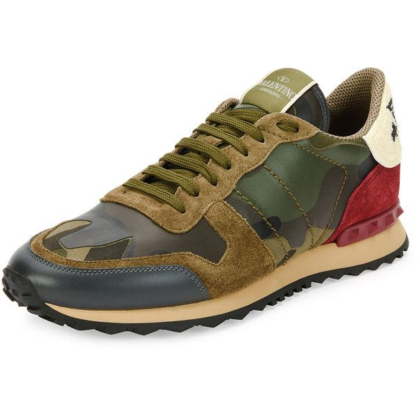 Valentino Rockrunner Leather Trainer Sneaker with Embroidered Eagle ($1,245) ❤ liked on Polyvore featuring men's fashion, men's shoes, men's sneakers, multi colors, colorful mens shoes, mens camo shoes, mens leather sneakers, valentino mens sneakers and mens lace up shoes