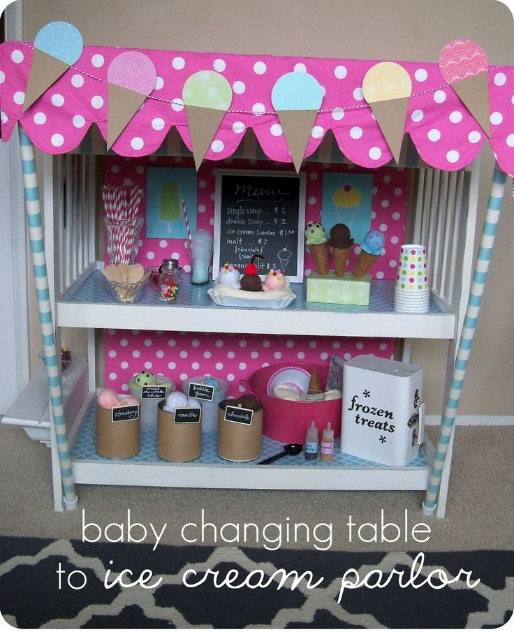 Changing Table to Ice Cream Parlor -any little girl would love this. I think it would be cute as a Barbie house too.