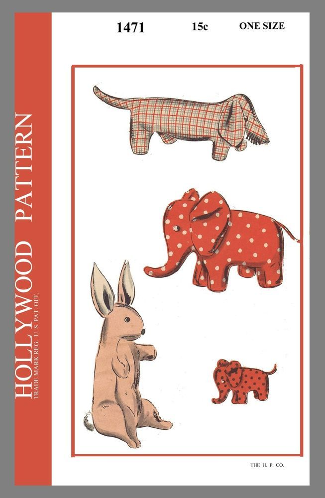 Vint Hollywood Pattern Stuffed Animal Dog Elephant Rabbit Sew ...