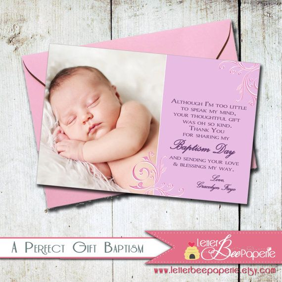 Custom Baptism / Christening Photo Thank You Card - Twins