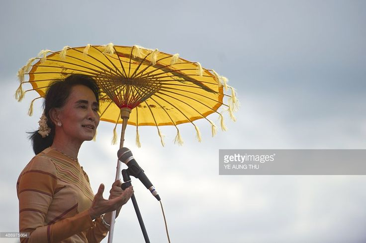 National League for Democracy chairperson, <a gi-track='captionPersonalityLinkClicked' href='/galleries/personality/214208' ng-click='$event.stopPropagation()'>Aung San Suu Kyi</a> delivers a speech during a voter education campaign at the Hsiseng township in Shan State, on September 5, 2015. While her National League for Democracy (NLD) party is expected to triumph at key elections this year, Suu Kyi's pathway to the presidency is blocked by a controversial clause in Myanmar's junta-era…