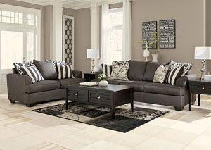 Levon Charcoal Sofa U0026 Loveseat,Signature Design By Ashley