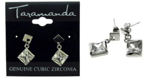 Wholesale Diamond Shape Silver Tone Cubic Zirconia Dangle Ea (Case of 12)