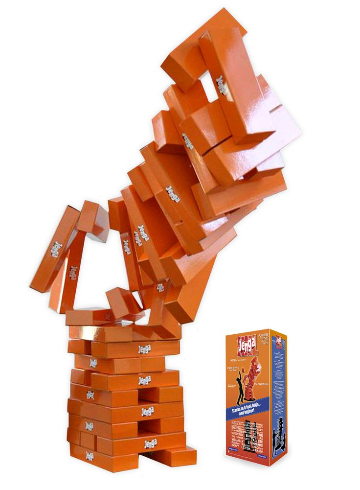 Art's Ideas - Jenga XXL® Gigantic Cardboard Edition, $299.95 (http://www.artsideas.biz/jenga-xxl-gigantic-cardboard-edition/)