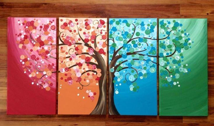 Seasonal tree bright multi canvas painting for Multi canvas art ideas