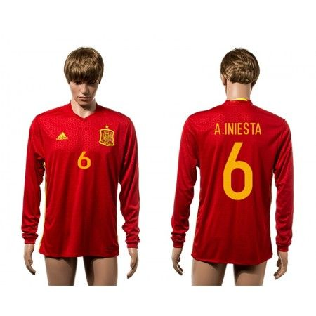 Spanien 2016 #Andres Iniesta 6 Hjemmebanetrøje Lange ærmer,245,14KR,shirtshopservice@gmail.com