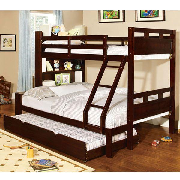 Fairfield Dark Walnut Finish Twin & Full Combo Size Bunk Bed
