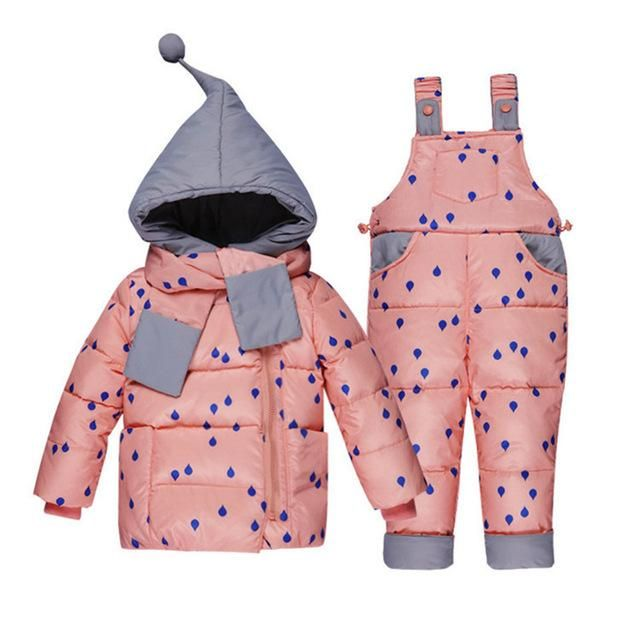 M/&A Baby Girls Snowsuit 2-Piece Down Jacket and Snow Bib