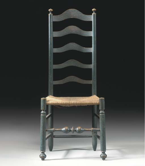 A WILLIAM AND MARY BLUE PAINTED LADDER BACK SIDE CHAIR DELAWARE VALLEY,  18TH CENTURY. Antique ChairsWooden ...