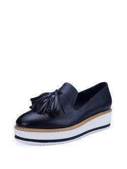 065b7dbecf8 Black Tassel Platform Leather Casual Loafers  Winteroxfordshoes Unique