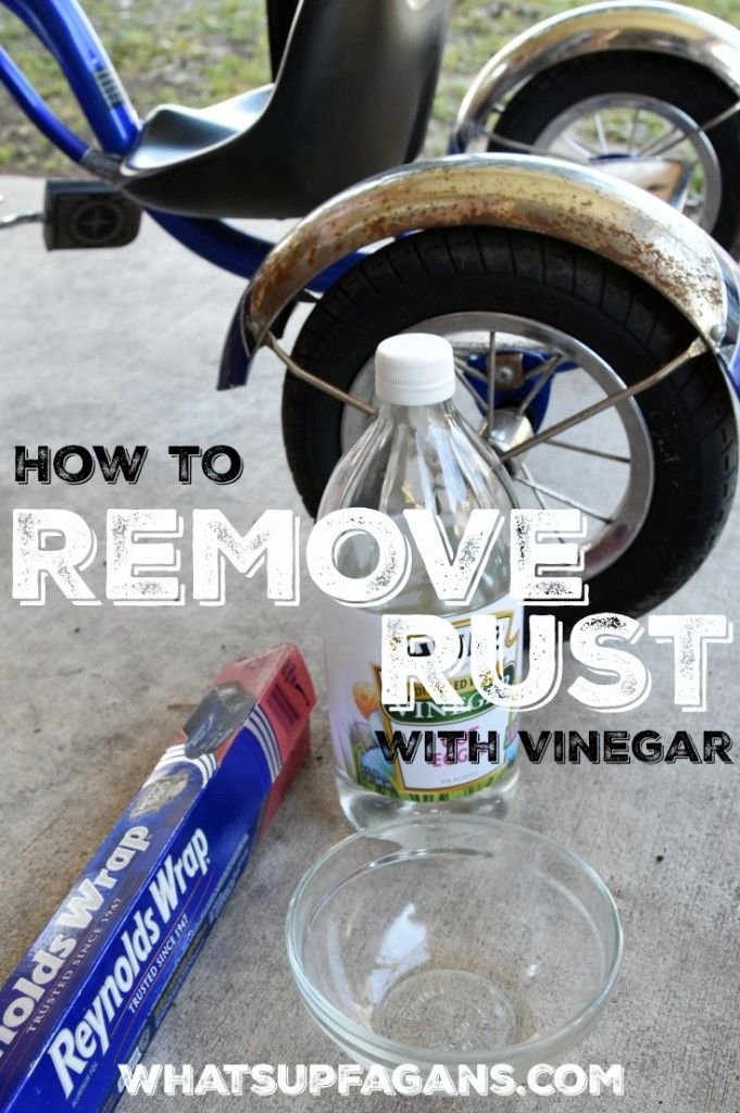 Great DIY Cleaning Tutorial on Removing rust from a boy's tricycle with vinegar