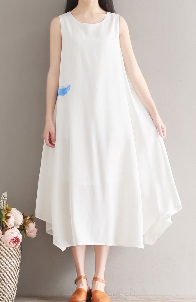 Women loose fitting over plus size white silk dress long maxi tunic pregnant #Unbranded #dress #Casual