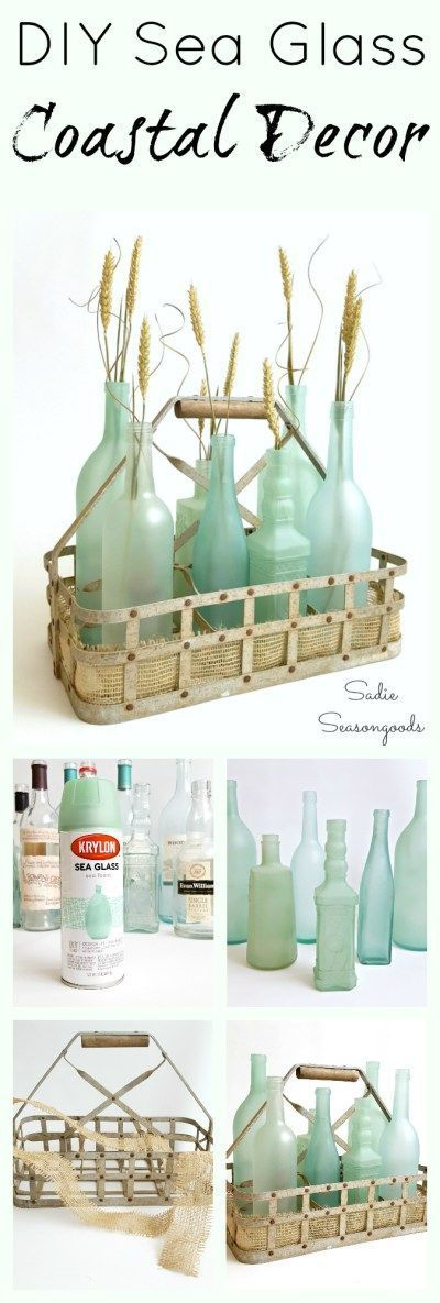 Be summer-ready with this gorgeous. beachy project that uses glass bottles and jars straight from your recycling bin! Give them the look of sea glass with a special spray paint- they'll be frosty and sea foam green in no time. Perfect repurposing & upcycling project that anyone can do. and ideal for summer decor with a beach cottage look. #SadieSeasongoods / www.sadieseasongoods.com