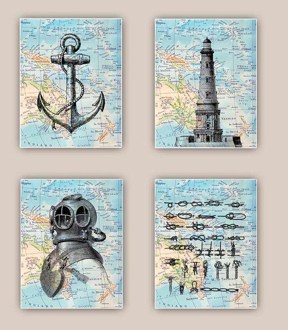 Nautical Prints, Lighthouse, anchor, sailor knots, scuba diver helmet, Set 4 prints 11x14, sailing map art, coastal decor, beach living on Etsy, $60.00