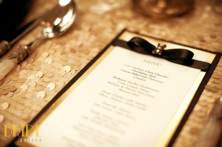 Vintage-inspired wedding menu designed by Diane Bowman of KME in Vancouver, BC