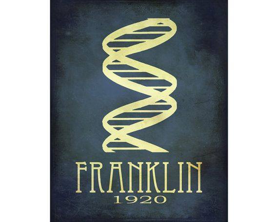 11x14 Rosalind Franklin Steampunk Science Double Helix DNA Rock Star Scientist Physics Diagram Educational Poster Geek Chic Smart Dorm Deco
