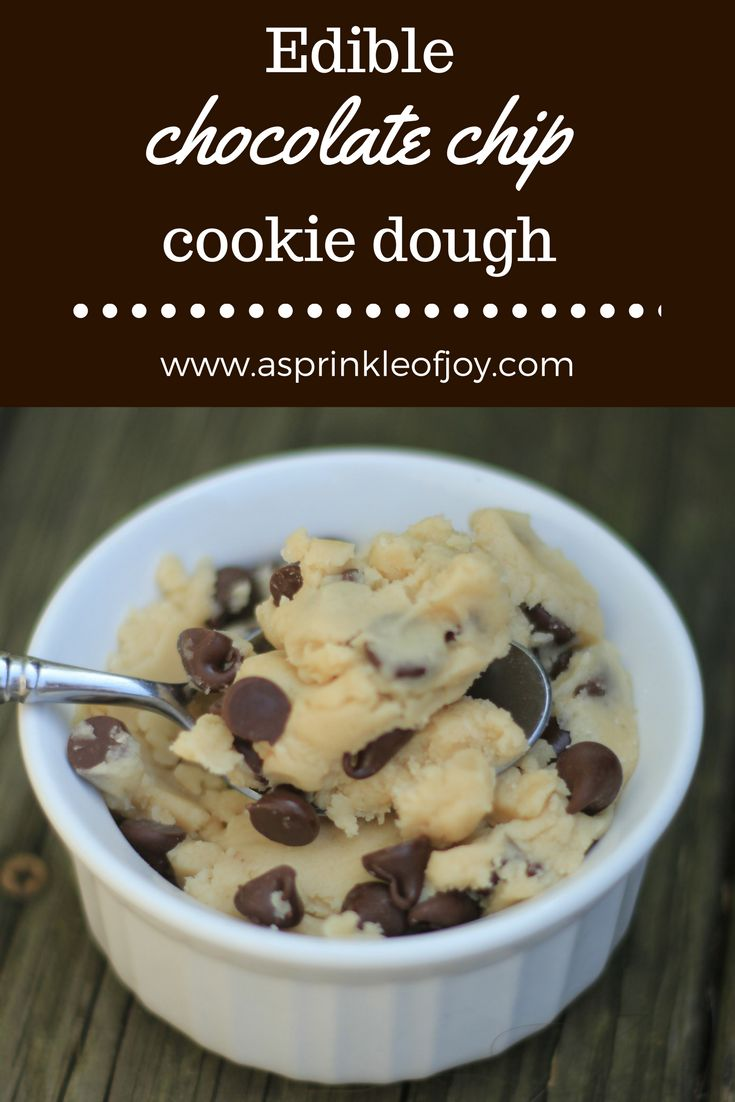 Edible, egg free, safe to eat , chocolate chip cookie dough, for two.  Quick and easy to make!