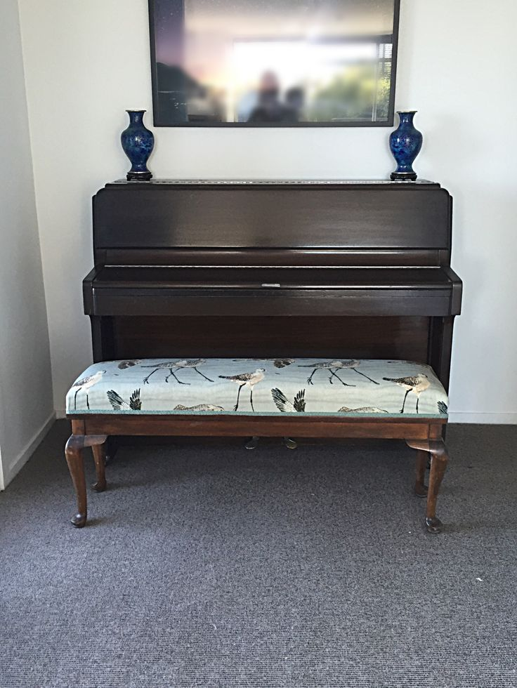 Godwits fabric reupholstered piano stool. #nzdesign #ecofabric #hemp