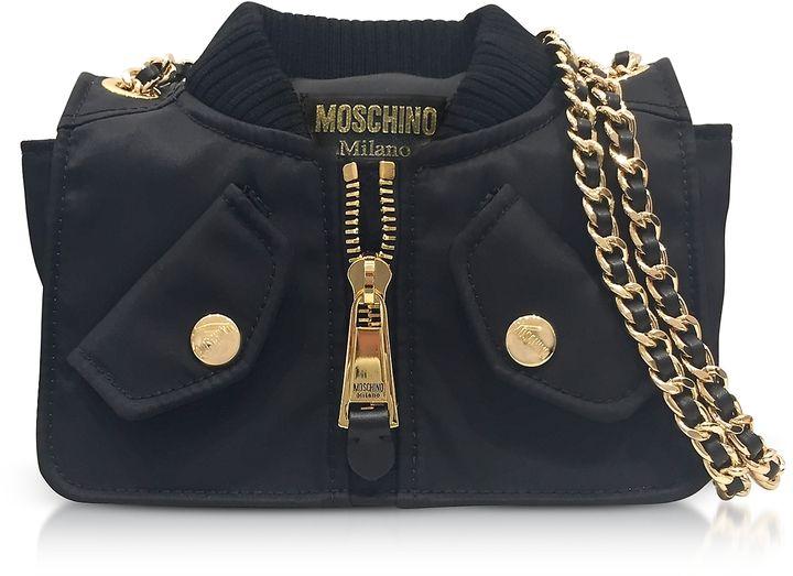 Moschino Black Nylon Bomber Jacket Shoulder Bag