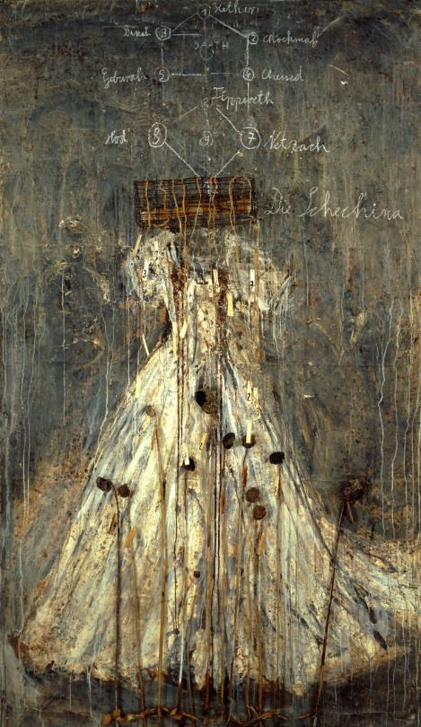 Die Schechina [The Shechinah], 1999. Oil, emulsion, acrylic, lead and aluminum wire cage on canvas, 330 x 190 cm.