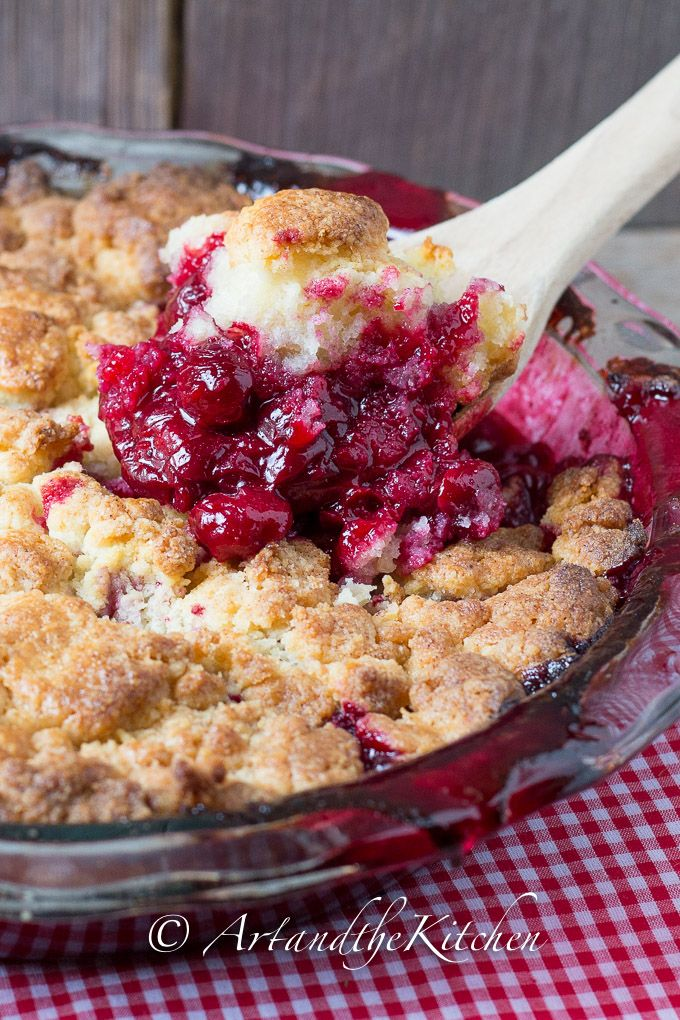Jack Daniel's Sour Cherry Cobbler | Art and the Kitchen have you ever tried sour cherries? These tart little cherries are delicious in pies, jams, sauces and my favourite recipe an easy to make cobbler