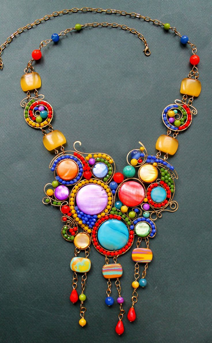 Wire Wrap Necklace 'Colour Hypnosis' | Wire Wrap Колье «Цветной Гипноз» — Купить, заказать, колье, ожерелье, проволока, агат, перламутр, ручная работа