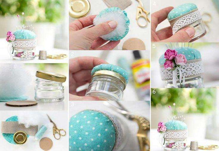 Come realizzare un puntaspilli con un barattolino di vetro #RicicloCreativo #Vetro  SEGUICI SU: www.facebook.com/CreoEco