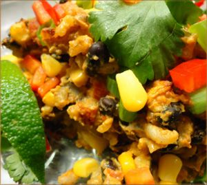 Mexican Bean and Rice Casserole border (vegan)