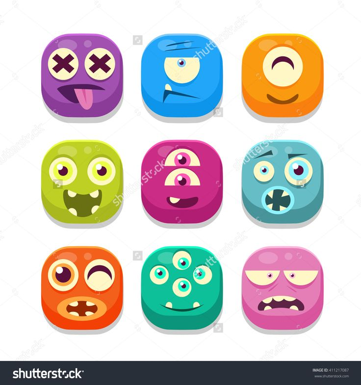 Monster Emoji Colorful Bright Childish Cartoon Style Icons Set For Smartphone Flat Vector Design Isolated On White Background - 411217087 : Shutterstock