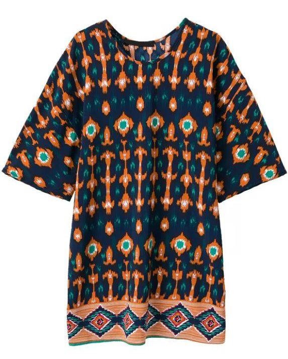 Orange Vintage Geometric Print Loose Dress - abaday.com