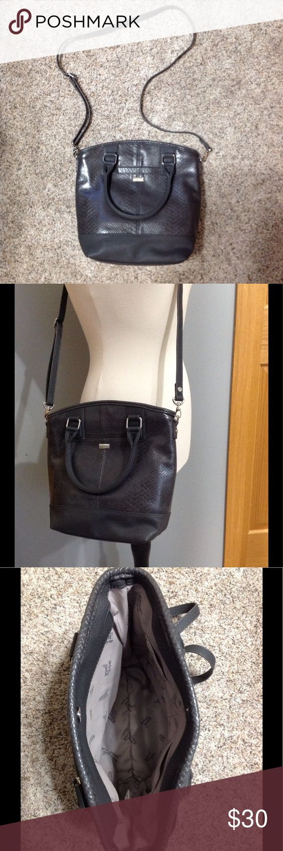 Jewell Handbag by Thirty One Dark Gray Crossbody with detachable strap, can be carried with two top handles. Two pouches inside, one pocket on front. Thirty-One Bags Crossbody Bags
