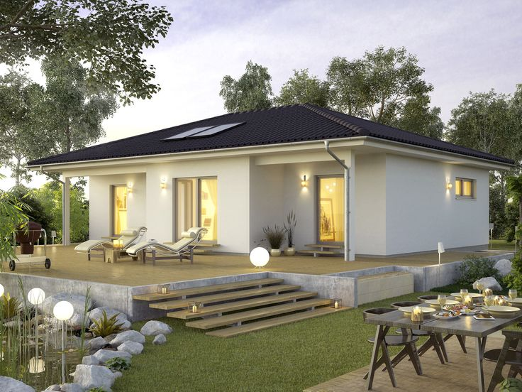 Bungalow ProLife 89 • Effizienzhaus von ProHaus • Außergewöhnliches Fertighaus mit bis zu drei verschiedenen Dachformen • Jetzt bei Musterhaus.net informieren!