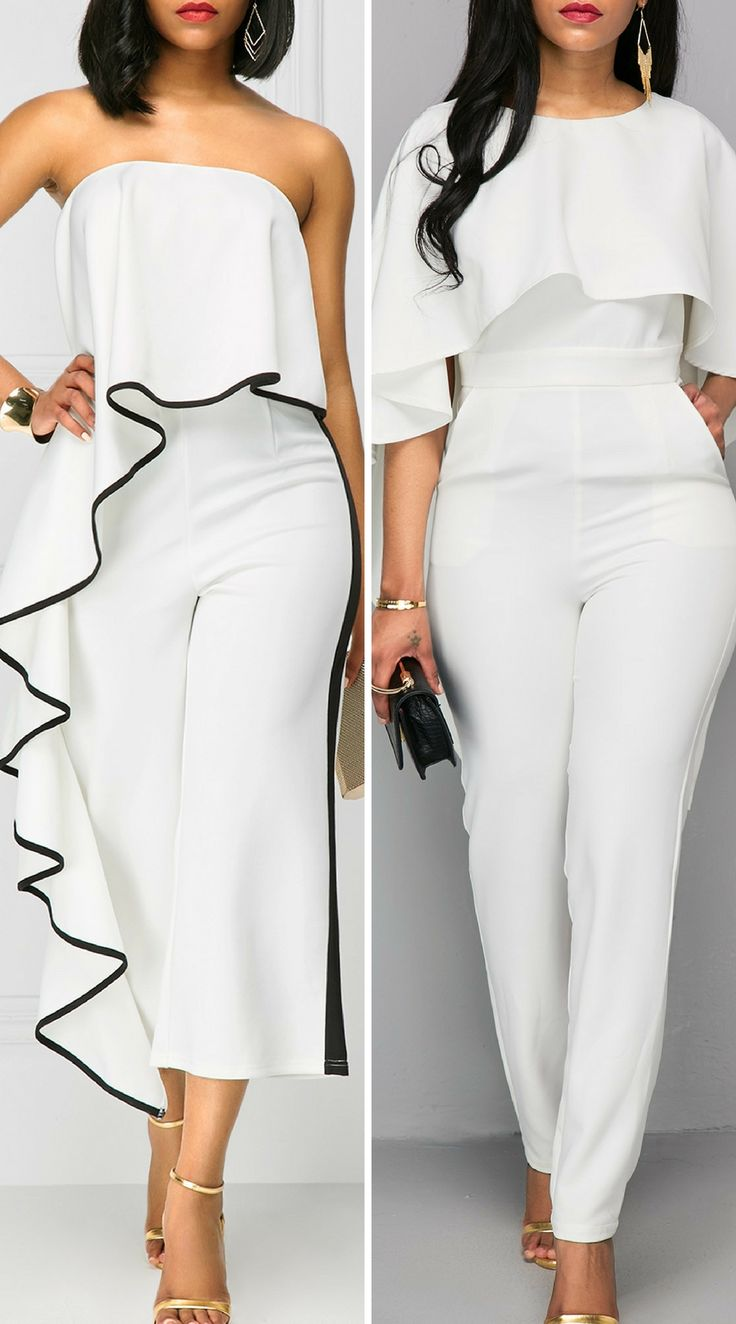 Elegant white jumpsuits for wedding as a guest, check them by now, free shipping worldwide at roeswe.com.