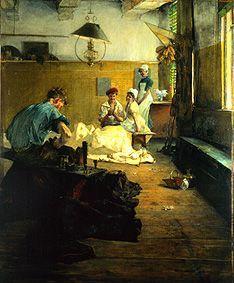 """Gotthard Kuehl (1850 - 1915), """"Sailmaker workshop in Lübeck"""". (um 1880/18) Lübeck, Museum für Kunst und Kultur"""