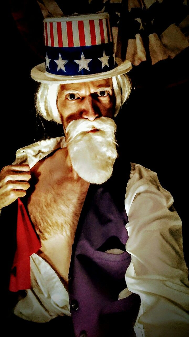 Uncle Sam 4th of July costume vintage I want you for the US Army sexy man male hairy chest bod