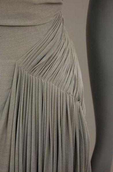 Narrow Pleats on an elegant vintage dress - couture fashion design detail; drape; fabric manipulation // Madame Gres