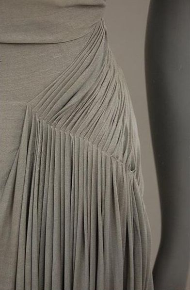 Narrow Pleats on an elegant vintage dress - couture fashion design detail; drape; fabric manipulation // Madame Gres