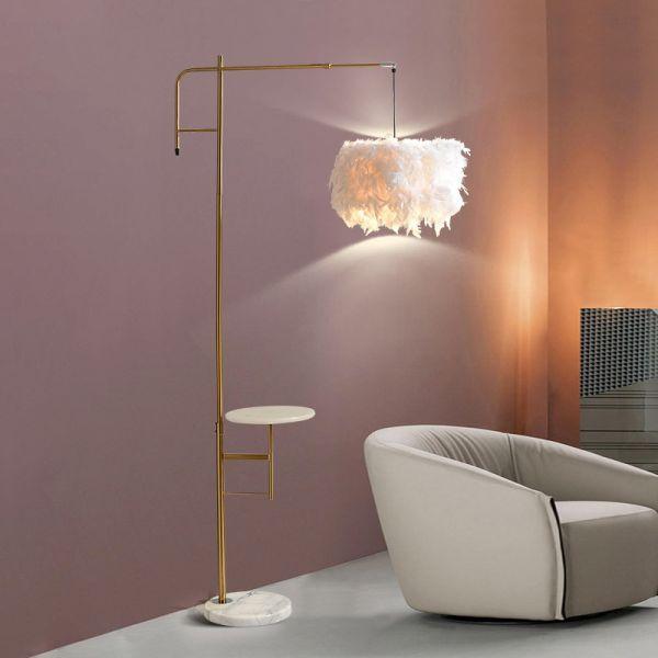 Minimal Drum Floor Table Lamp With Feather Shade Metal Single Head Bedroom Standing Light In Gol Floor Table Lamps Gold Floor Lamp Gold Floor Lamps Living Room