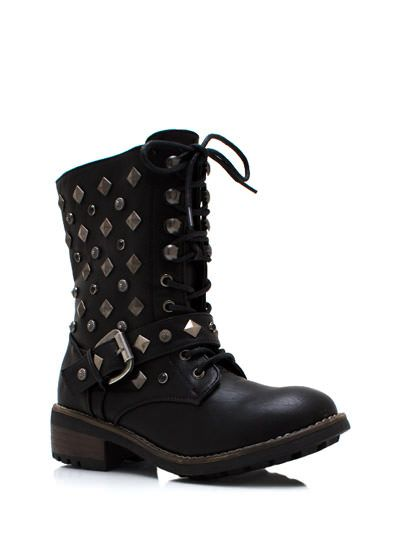 Bejeweled N Studded Combat Boots